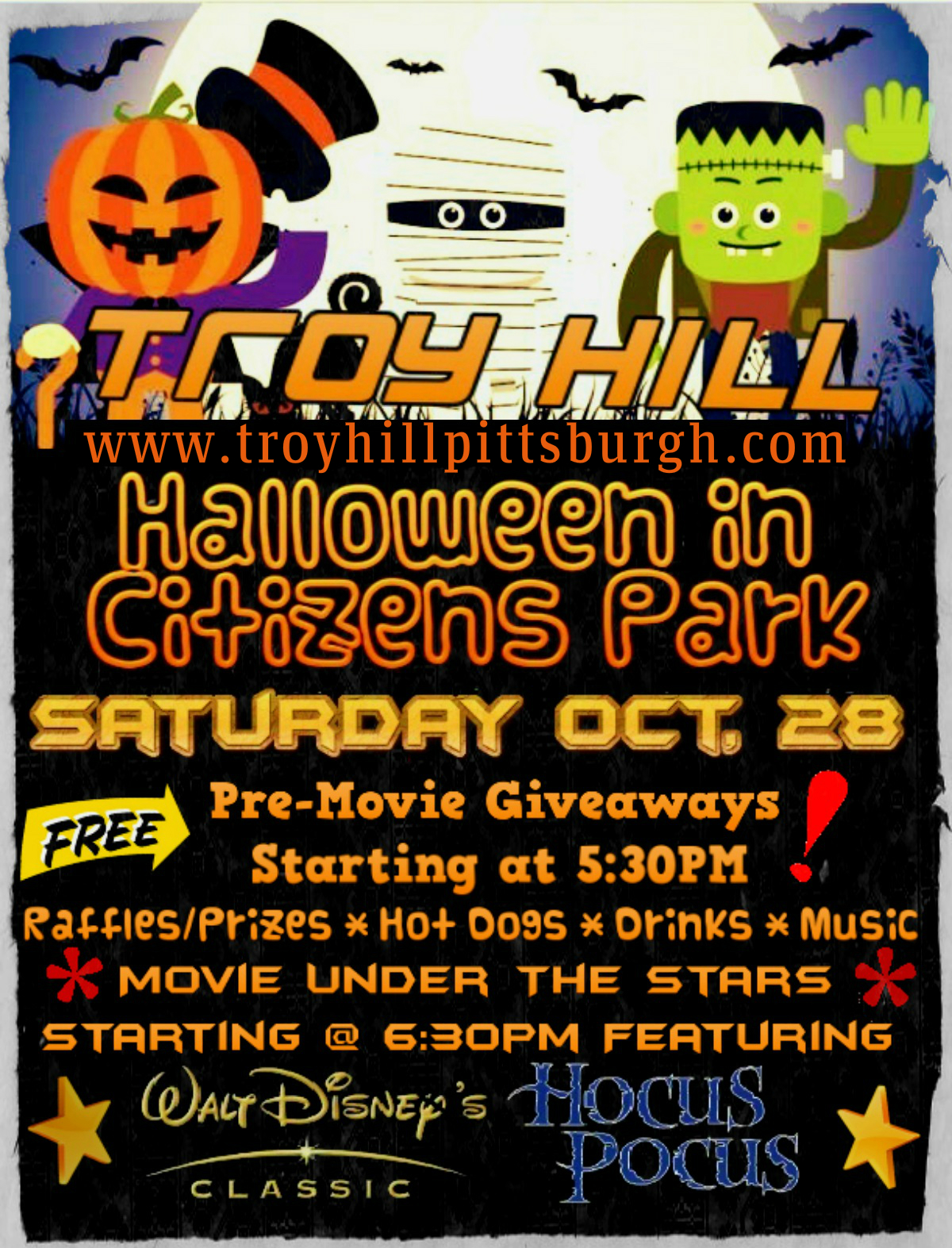 Halloween In the Park (CANCELLED DUE TO WEATHER) – Troy Hill